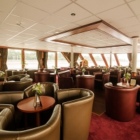 Lounge of River Navigator docked in Budapest, Hungary